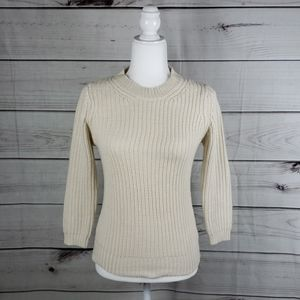 NWOT Zara• S sweater 3/4 sleeve crew neck cream